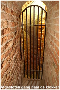 The conceiled narrow hallway to the bells of the tower